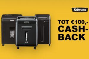 Tot 100 euro cashback op Fellowes papiervernietigers